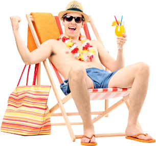 Man Relaxing on Holiday with Insure My Travel